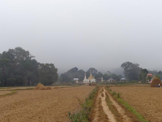 Lever du jour et travaux dans les champs, à l'extérieur de Hsipaw, en pays shan, fin décembre