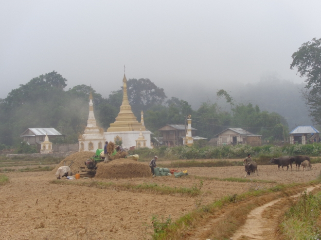 """C'est aussi """"l'hiver"""" en pays shan, et le brouillard, le matin, ne se lève qu'autour de 9h30 ou 10 heures..."""