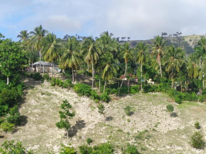"""Petites maisons accrochées aux """"mornes"""" entre les Cayes et Port-Salut"""