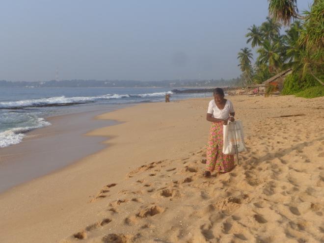 Mardi matin, 17 janvier. Sur la plage, une femme est à la recherche de petits coquillages afin de fabriquer des colliers. On aperçoit Tangalle, à l'horizon, à l'ouest.