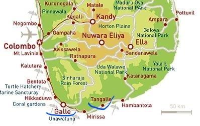Carte Cote Ouest Sri Lanka.Tangalle Derriere La Carte Postale Carnets De Voyages